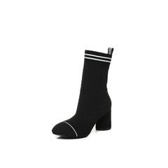 Belle/百丽2017冬黑色时尚简约纺织品女皮靴87605DZ7
