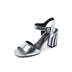 Belle/百丽夏专柜同款银色沙丁牛皮革女皮凉鞋R3S1DBL7