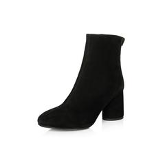Belle/百丽2017冬季新品专柜同款黑色羊绒皮女短靴BMX43DD7