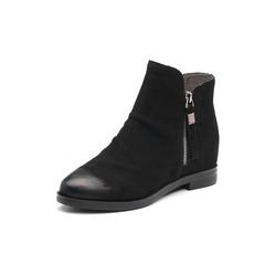 Belle/百丽2017冬季新品专柜同款黑色磨砂牛皮女短靴BOB40DD7
