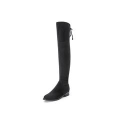 Belle/百丽2017冬季新品专柜同款黑色羊绒皮高筒靴女皮靴BRR80DC7