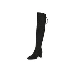 Belle/百丽2017冬黑色优雅时尚羊绒皮女长靴BRY81DC7