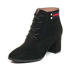 Belle/百丽2017冬黑色时尚羊绒皮女短靴BQW41DD7