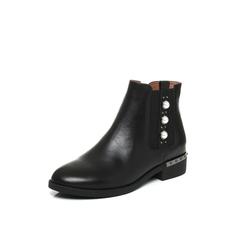 Belle/百丽2017冬黑色时尚珍珠油皮牛皮女皮靴3C3X9DD7