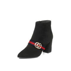 Belle/百丽2017冬黑绒时尚优雅羊绒皮女短靴BOU50DD7
