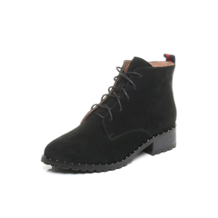 Belle/百丽2017冬黑色休闲舒适羊绒皮女短靴BQU52DD7