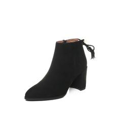 Belle/百丽2017冬黑色简约大气羊绒皮女短靴BRY45DD7