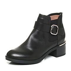 Belle/百丽2017冬黑色经典油皮牛皮女短靴BJH49DD7