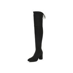 Belle/百丽2017冬黑色优雅时尚百搭弹力绒布女长靴BVL80DC7