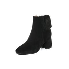 Belle/百丽2017冬黑色优雅女人羊绒皮女短靴BUE45DD7
