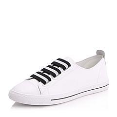 Belle/百丽秋白色舒适牛皮女休闲鞋小白鞋62087CM7