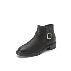 Belle/百丽冬季专柜同款黑色蜡摔纹牛皮女短靴R7Q1DDD7