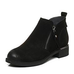 Belle/百丽2017冬新品黑色休闲舒适羊皮女短靴87201DD7