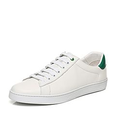 Belle/百丽秋季白/绿牛皮男经典休闲鞋小白鞋73003CM7