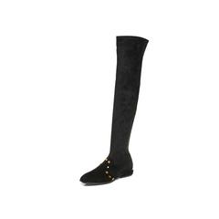 Belle/百丽2017冬黑色时尚织物/羊皮女休闲靴70582DC7