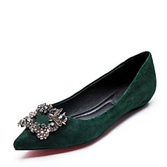 Belle/百丽秋绿色优雅羊绒皮女休闲鞋77808CQ7