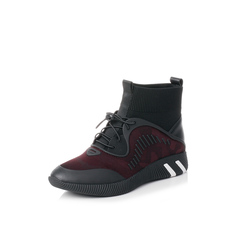 Belle/百丽2017冬专柜同款酒红色运动风袜靴弹力布/毛线筒/滴胶/牛皮女休闲靴R8X1DDD7