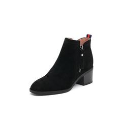 Belle/百丽2017冬季新品专柜同款黑色羊皮女短靴BYE49DD7