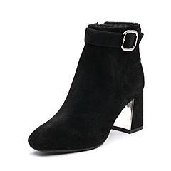 Belle/百丽2017冬季新品专柜同款黑色羊皮女短靴BVLB1DD7