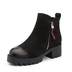 Belle/百丽2017冬季新品专柜同款黑色珠光磨砂牛皮革女皮靴(绒里)BXP41DD7