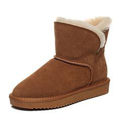 Belle/百丽2017冬棕色简约雪地靴牛剖层皮女短靴03358DD7