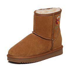 Belle/百丽2017冬棕色时尚保暖雪地靴牛剖层皮女短靴17406DD7