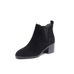 Belle/百丽2017冬季新品专柜同款黑色羊绒皮/橡筋女短靴R7X1DDD7