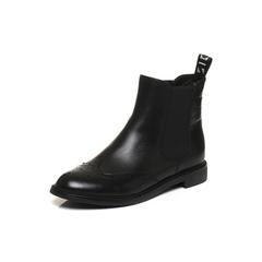 Belle/百丽2017冬黑色英伦风牛皮/织物女短靴91182DD7
