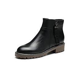 Belle/百丽冬季专柜同款黑色油皮牛皮女短靴BZT43DD7