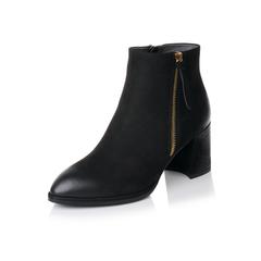Belle/百丽2017冬黑色优雅知性磨砂牛皮女短靴BWH44DD7