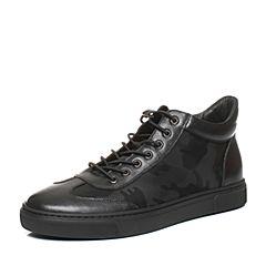 Belle/百丽2017冬季黑色纺织品/牛皮男休闲靴88003DD7