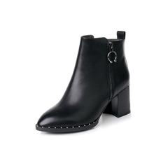 Belle/百丽2017冬黑色优雅知性油皮牛皮女短靴BWH46DD7