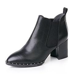 Belle/百丽2017冬黑色优雅知性油皮牛皮女短靴BWH45DD7