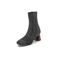 Belle/百丽2017冬季新专柜同款针织帮面粗跟女中靴袜靴BUG60DZ7