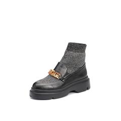 Belle/百丽2017冬专柜同款银色潮流时尚针织布/牛皮革女休闲靴S1E1DDD7
