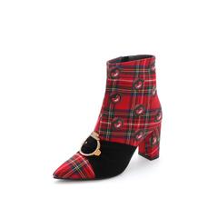 Belle/百丽2017冬专柜同款同道百丽联合款红绿/黑优雅复古格子布女靴BZF48DD7