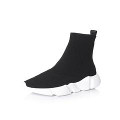 Belle/百丽冬专柜同款黑色时尚潮流针织帮面女短袜靴BYW45DD7