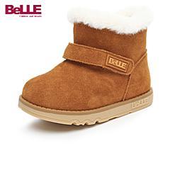 百丽(belle)17年秋冬季新款女童宝宝绒毛内里舒适百搭防滑便捷拉链设计宝宝靴DE5912