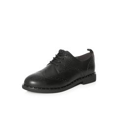 Belle/百丽2018春新品专柜同款黑色英伦风雕花布洛克鞋牛皮女单鞋BAO20AM8