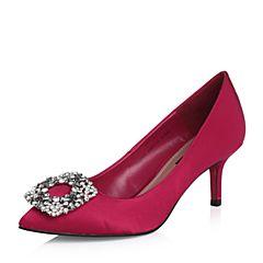 Belle/百丽2018春新品专柜同款浅红沙丁布尖头细高跟通勤浅口女单鞋BADA1AQ8
