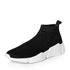 Belle/百丽2018春季新品专柜同款黑色运动风镶钻针织帮面女休闲鞋BYW29AM8