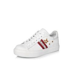 Belle/百丽2018春季新品专柜同款白/红运动风牛皮革女皮鞋BTX21AM8