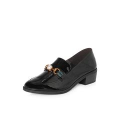 Belle/百丽2018春新品专柜同款黑色珍珠马衔扣皱漆牛皮女皮鞋BGZA5AM8