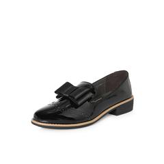 Belle/百丽2018春新品专柜同款黑色淑女珠光漆皮牛皮女皮鞋BLTF2AM8