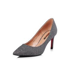 Belle/百丽2018春季新品专柜同款灰色亮片布尖头细高跟女单鞋BAE02AQ8
