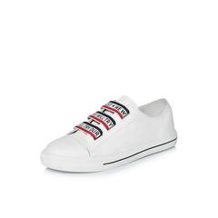 Belle/百丽2018春季新品专柜同款白/红运动风牛皮革女皮鞋(红橡筋)BRT21AM8