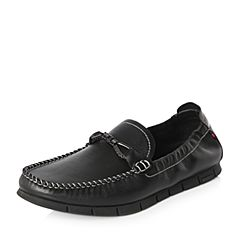 Belle/百丽2018春季新品专柜同款黑色牛皮革男休闲鞋5PZ01AM8