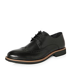 Belle/百丽2018春季新品专柜同款黑色牛皮革男休闲鞋5QF01AM8