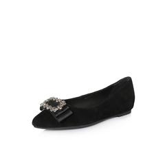 Belle/百丽2018春新品专柜同款黑色羊绒皮浅口尖头底跟女单鞋S1T1DAQ8