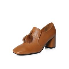 Belle/百丽2018春新品专柜同款棕色时尚英伦风牛皮女皮鞋S1S1DAM8
